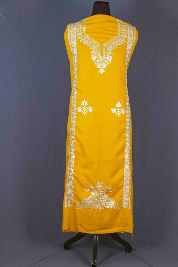 Yellow Colour Kashmiri Tilla Aari Work Salwar Kameez