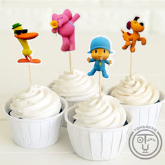 96 pz Anime pocoyo Elly Pato Loula Sleepy uccello candy bar cupcake topper pick picks frutta baby shower bambini festa di compleanno supplly