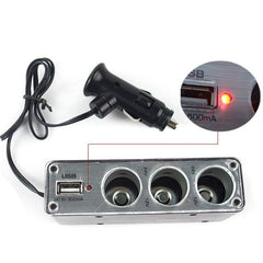 Di alta Qualità 3 Way Car Cigarette Lighter Socket Splitter Charger Power Adapter DC + USB Port Plug 12 V-24 V