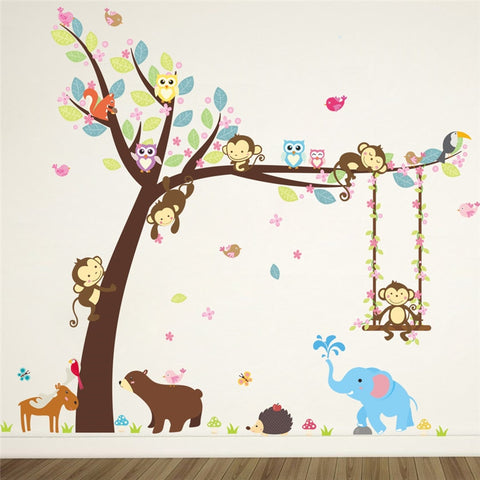 % Jungle Wild Forest Animals Elephant Monkey Tree wall stickers per bambini camera Dei Bambini Adesivo Nursery Camera Da Letto Decorazione Murale