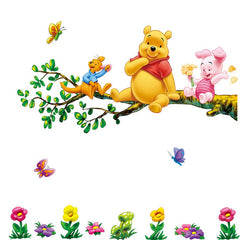 Fumetto bello Winnie The Pooh Fiori Stickers Murali Sticker Decor PVC Smontabile Per Bambini