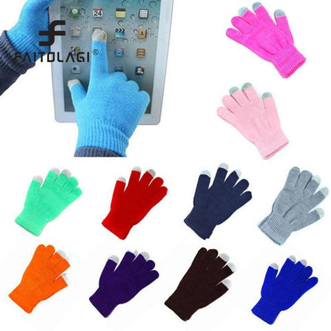 Magic Touch Screen Guanti Donne degli uomini Femminili Guanti Smartphone Texting Stretch Adulto Scaldino di Inverno del Knit Mittens Guanti