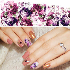 Salone di Bellezza 1 PZ di Trasferimento Dell'acqua Unghie Art Sticker Fiori Viola Nail Wraps Sticker Filigrana Unghie Decalcomanie SASTZ369
