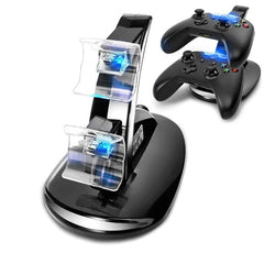 USB LED Veloce Ricarica Dock Station Per Xbox One Game Controller Dual-Nero