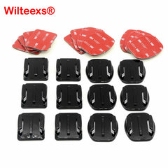WILTEEX 12 pz/set Casco Accessori 6 pz Curvo + 6 pz Appartamento Adesivo Monti + 3 M Sticker Per Hero5 4 3 + 3 2 xiaoyi Action