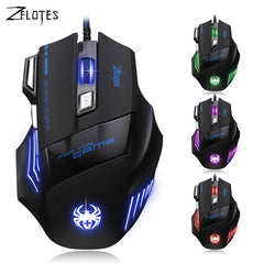 ZELOTES 5500 DPI 7 Pulsante Del Mouse Gamer Gaming Multi Colore LED USB Optical mouse Wired Gaming Mouse Per Pro Gamer All'ingrosso