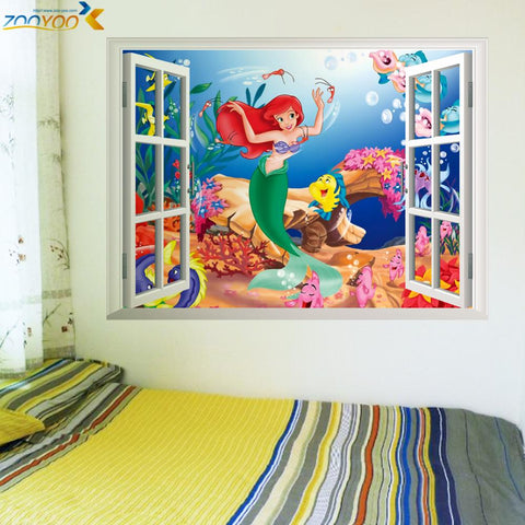 % Mermaid underwater world wall stickers per camere dei bambini a casa decorazione di diy 3d window sticker adesivo girls room Art Poster