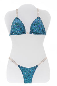 $350 All Over Turquoise Avatar Bikini Suit