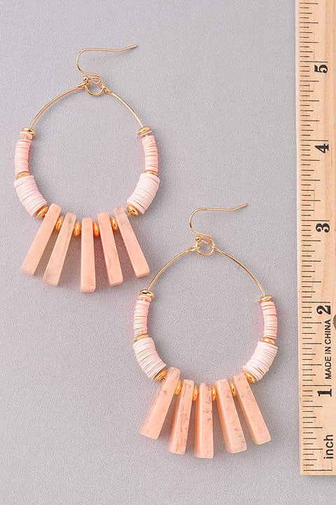 Coral Drop Hoop Earrings - For Sure Fashion Boutique