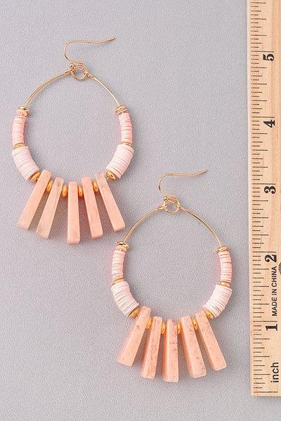 Coral Drop Hoop Earrings