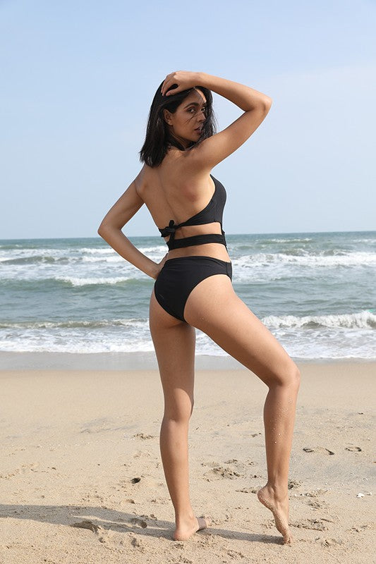 Black Criss-Cross Swimsuit - For Sure Fashion Boutique