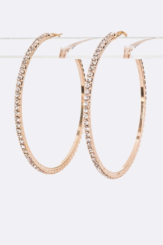 Load image into Gallery viewer, Bling Hoop Earrings - For Sure Fashion Boutique