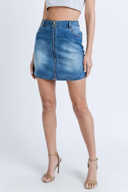 Load image into Gallery viewer, Denim Zip Skirt - For Sure Fashion Boutique