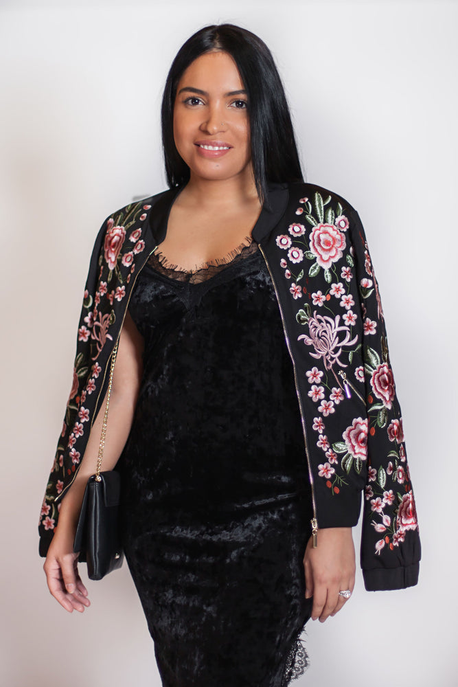 Flower Bomb Embroidery Jacket - For Sure Fashion Boutique