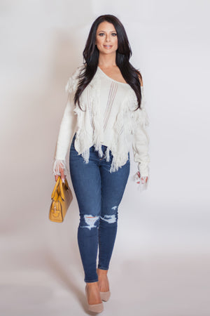Load image into Gallery viewer, Frisky Fringe Sweater - For Sure Fashion Boutique