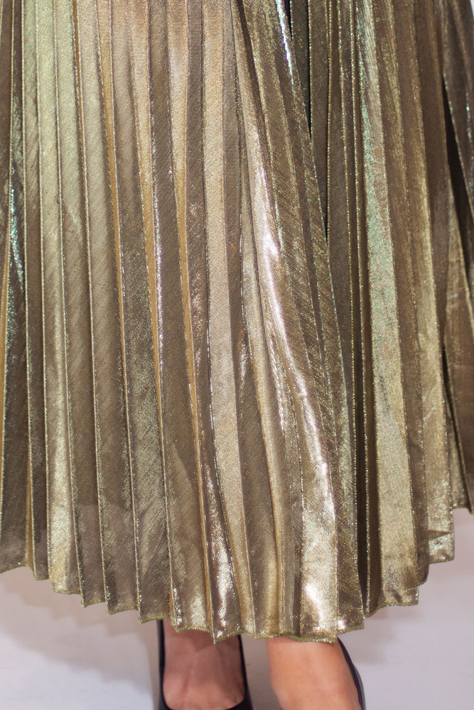 Load image into Gallery viewer, Metallic Pleated Maxi Skirt - For Sure Fashion Boutique