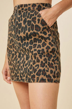 Leopard Denim Skirt - For Sure Fashion Boutique