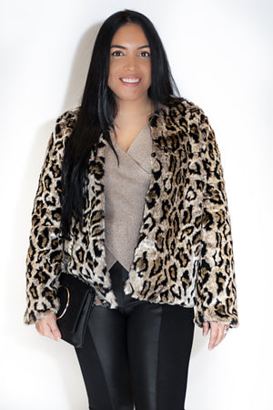 Load image into Gallery viewer, Leopard Fur Coat - For Sure Fashion Boutique