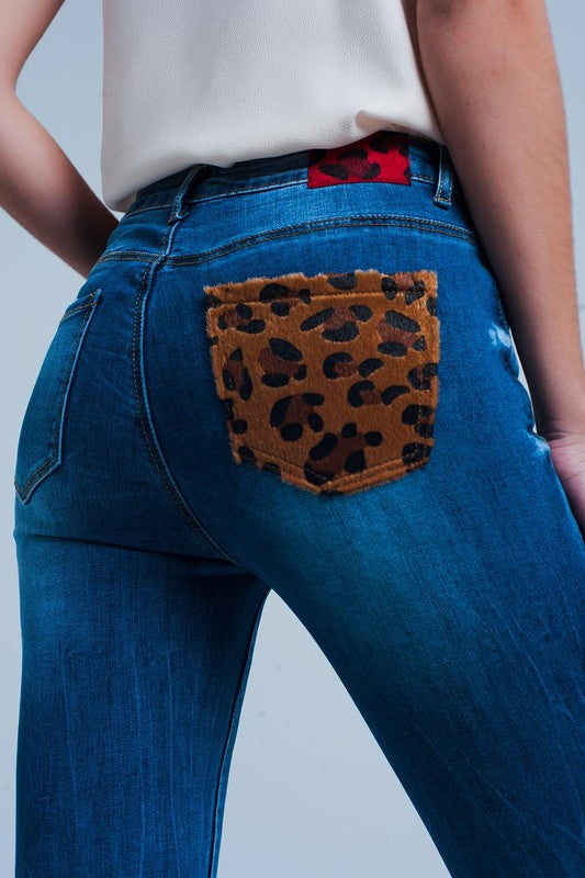 Leopard Pocket Jeans - For Sure Fashion Boutique