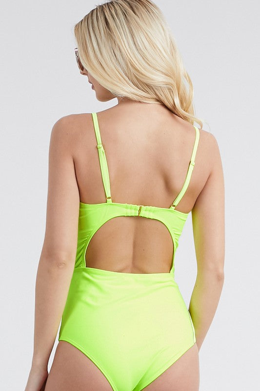 Load image into Gallery viewer, Front Twist Neon Swimsuit - For Sure Fashion Boutique