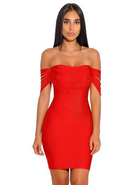 Fall In Love Off The Shoulder Bandage Dress