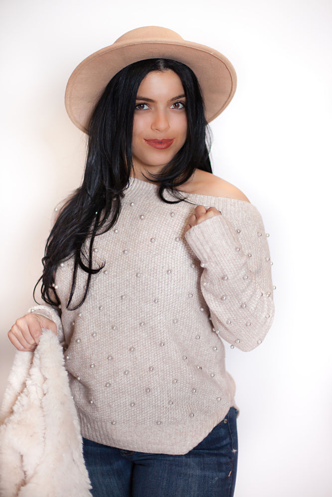 Load image into Gallery viewer, Pearl Off the Shoulder Sweater - For Sure Fashion Boutique