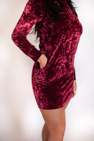 Red Velvet Hoodie Dress - For Sure Fashion Boutique