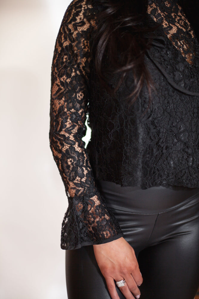 Ruffle V-Neck Lace Top - For Sure Fashion Boutique