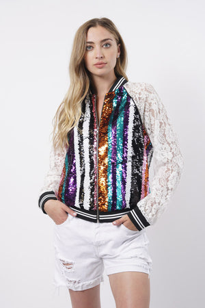Sequin Bomber Jacket - For Sure Fashion Boutique