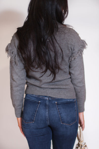 Silver Beaded Sweater