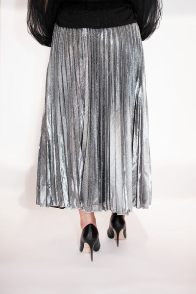Metallic Pleated Maxi Skirt