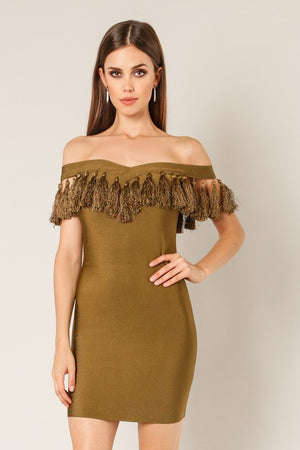 Load image into Gallery viewer, Tassel Bandage Dress - For Sure Fashion Boutique