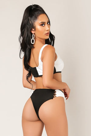 Load image into Gallery viewer, Black & White Bandage Bikini - For Sure Fashion Boutique