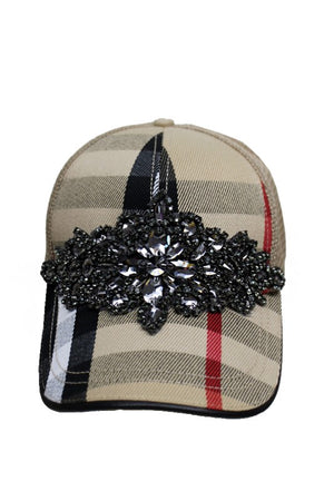 Load image into Gallery viewer, Plaid Bling Hat (Handmade)