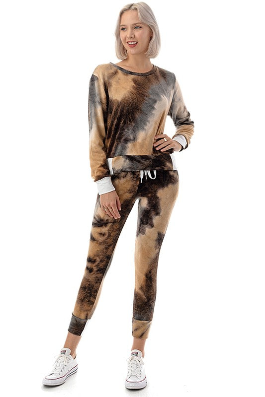 Mocha Tye-Dye Set - For Sure Fashion Boutique