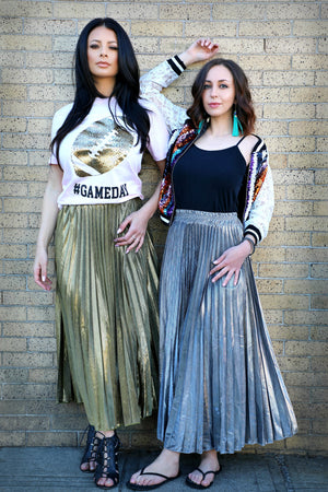 Metallic Pleated Maxi Skirt - For Sure Fashion Boutique