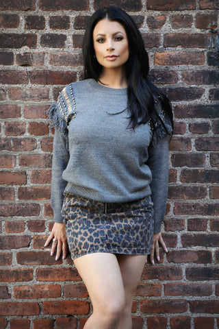 Silver Beaded Sweater - For Sure Fashion Boutique