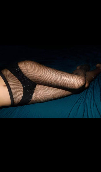 Rhinestone High-Waisted Fishnet Pantyhose