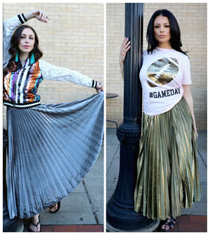 Load image into Gallery viewer, Metallic Pleated Maxi Skirt
