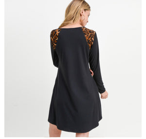 Animal Print Shoulder Dress - For Sure Fashion Boutique