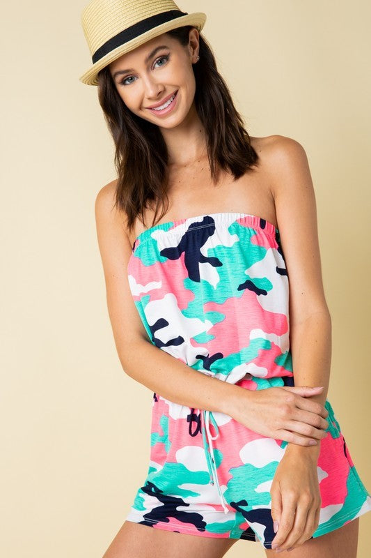 Load image into Gallery viewer, Camo Tube Top Romper - For Sure Fashion Boutique