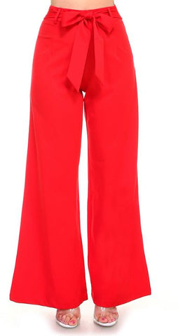 Red wide leg pants with tie front