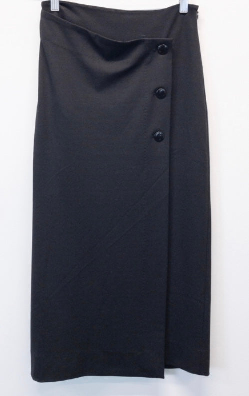 Black wrap pencil skirt
