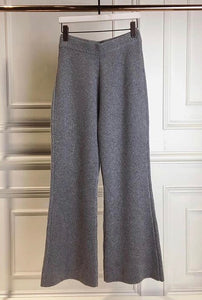 Grey cashmere-blend cropped pants