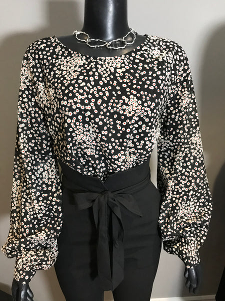 Black and white small floral top