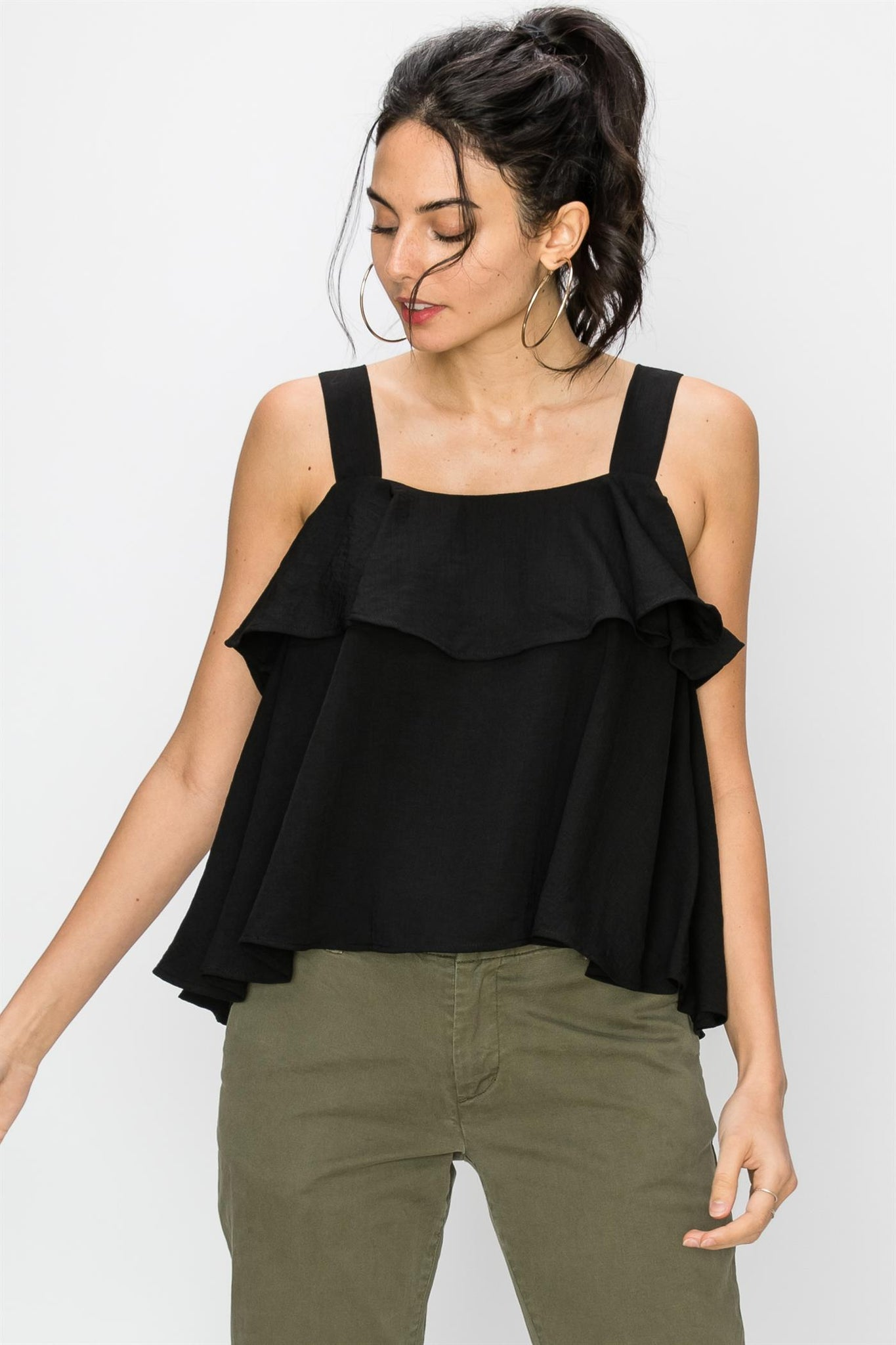 black sleeveless ruffle top