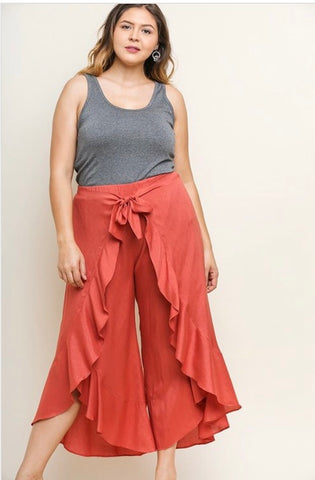 High Waisted Ruffled Wide Leg Pants with a Waist Tie