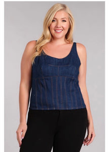 PLUS DENIM SLEEVELESS TOP