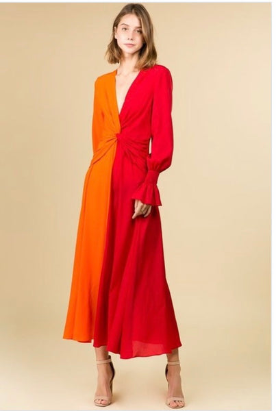 *V neck long sleeve dress *Orange and coral colorblock *Maxi dress *