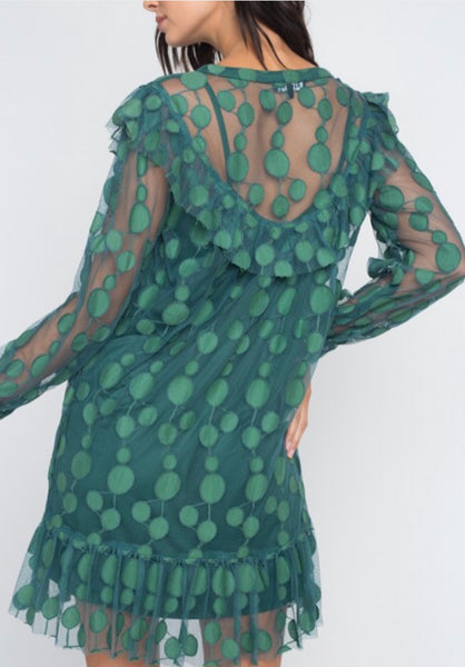 Green lace shift dress with slip